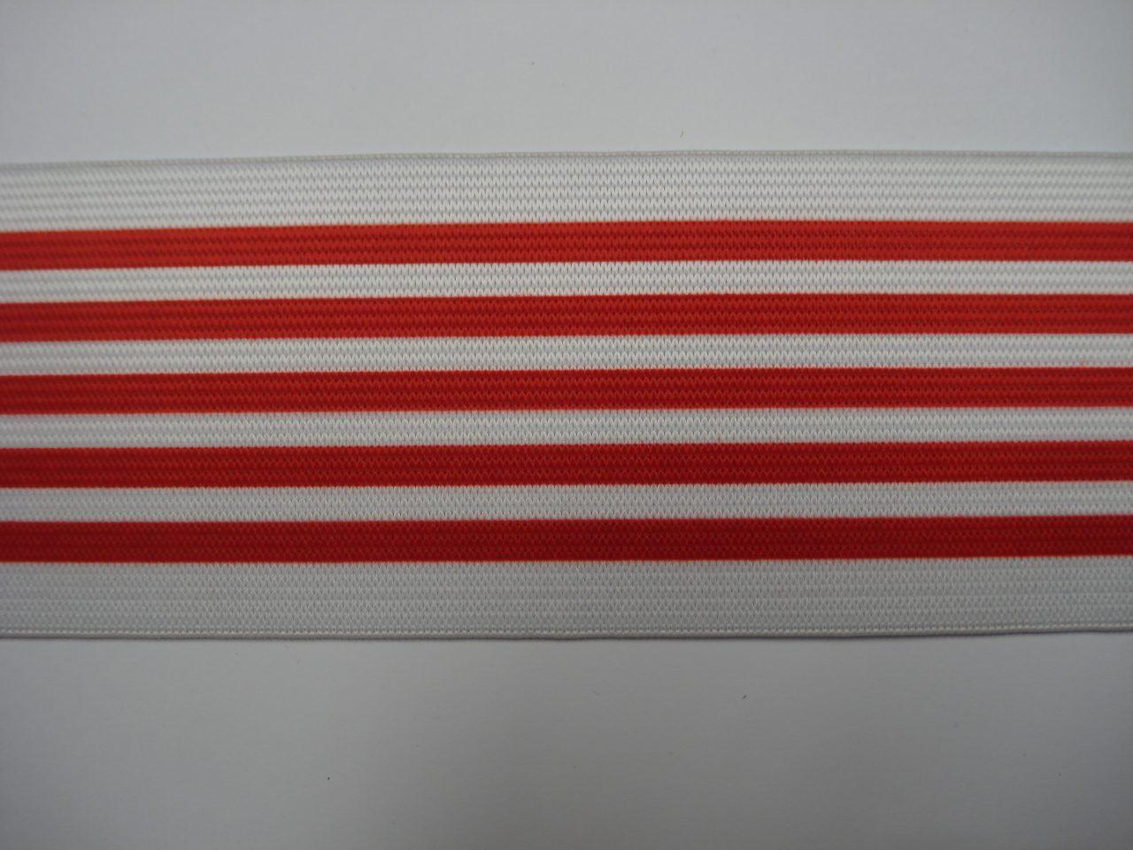 Gestreept Elastiek rood-wit 6cm breed €3,50 p/m
