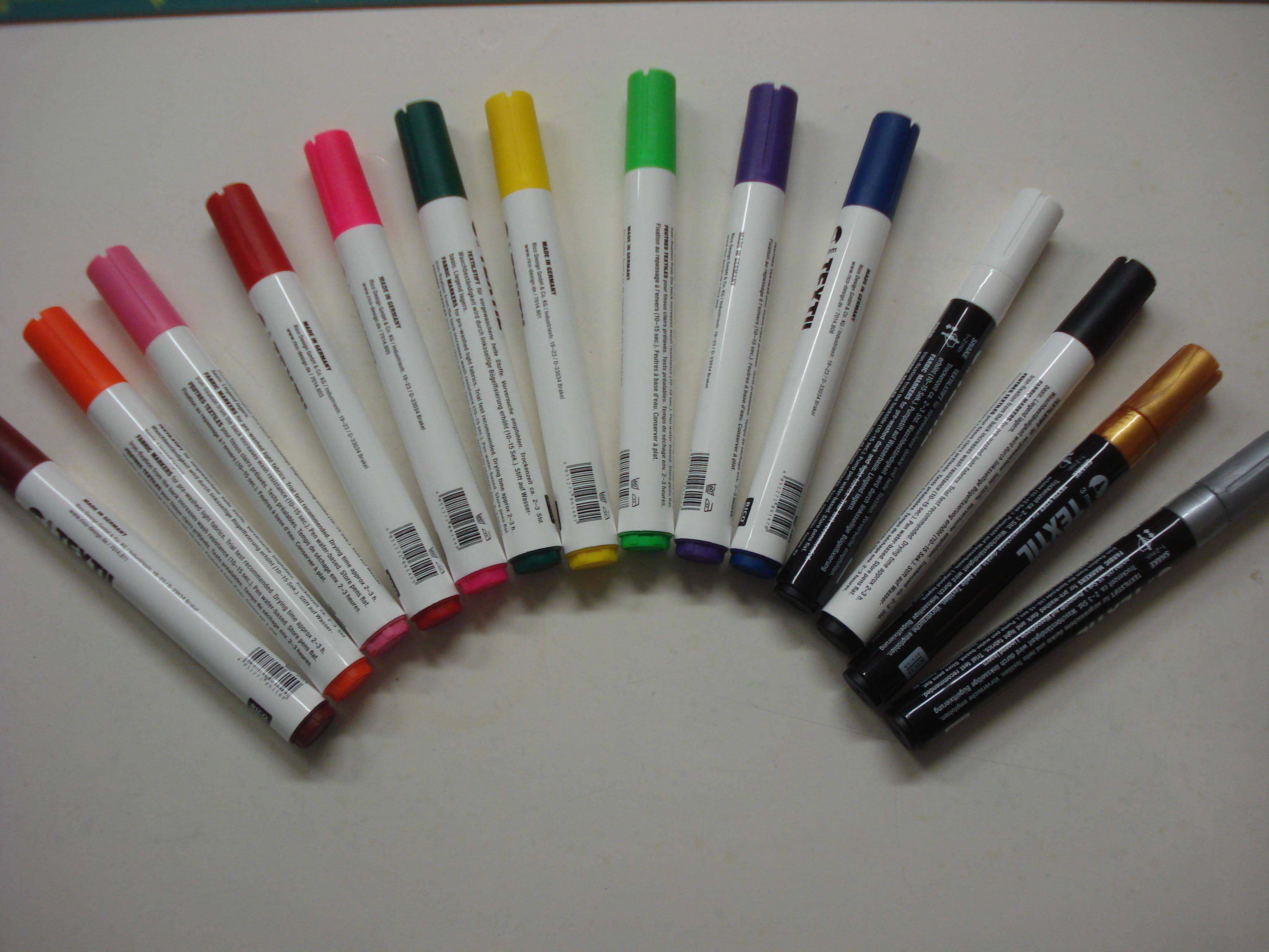 Textiel verfstift Leverbaar in 15 kleuren