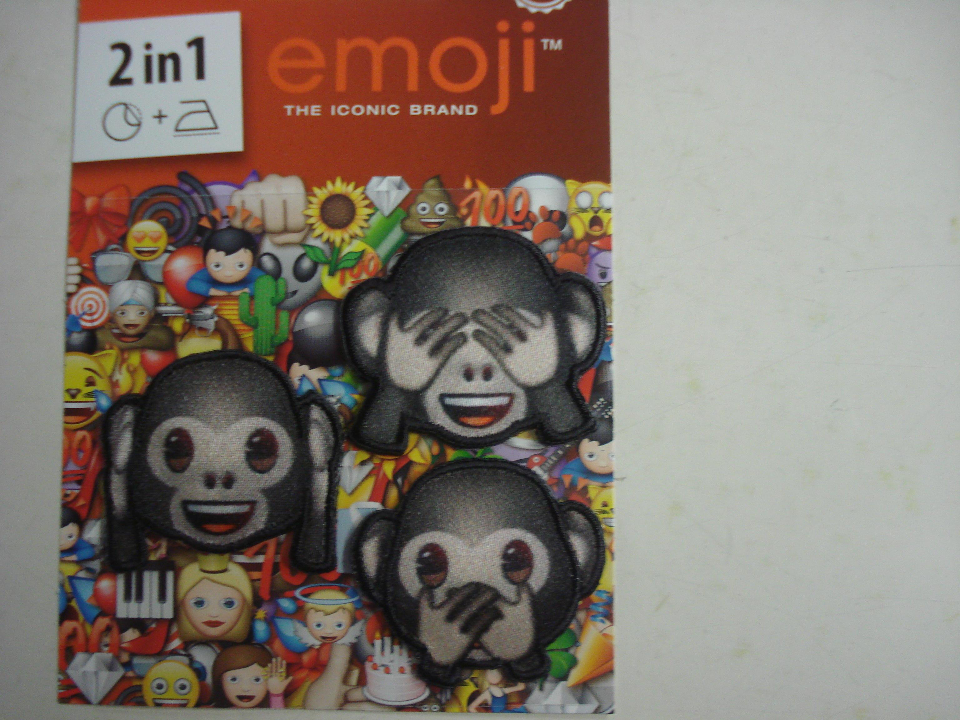 applicatie patch opstrijkbaar emoji aapjes