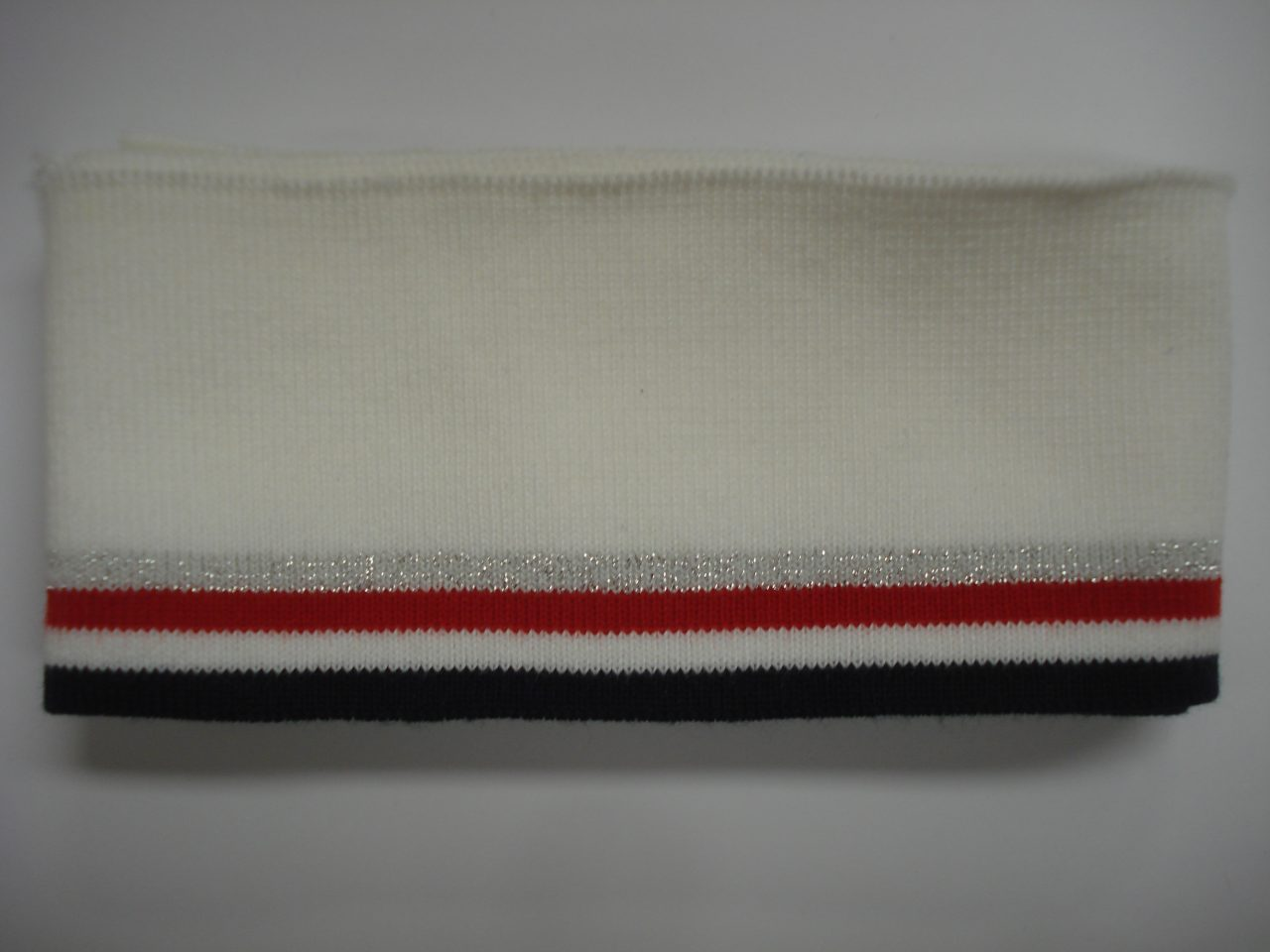 f893ec30c96 Katoenen boord gestreept wit/zilver/rood/wit/blauw 6cm x 110cm - Zus ...