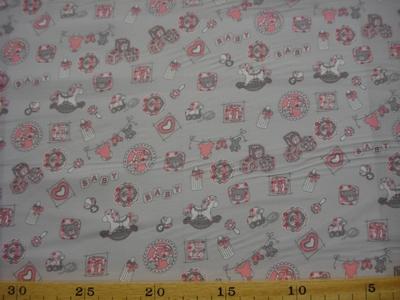 Poplin katoen Baby ABC grijs/rose by Poppy 022227,001