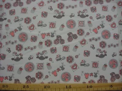 Poplin katoen Baby ABC offwit/rose by Poppy 022227,003