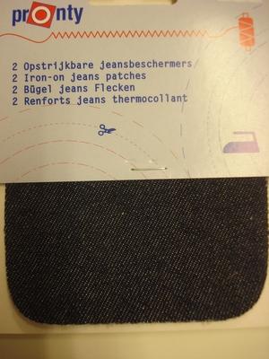 Opstrijkbaar jeansbeschermers donker