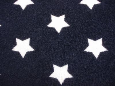 Rekbaar tricot badstof Ster donker blauw