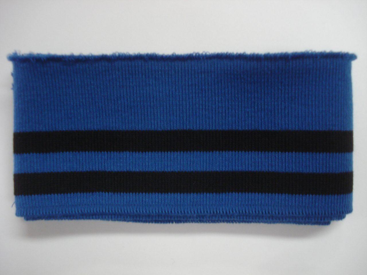 68a1d27a434 Katoenen boord gestreept blauw/zwart 6cm x 110cm