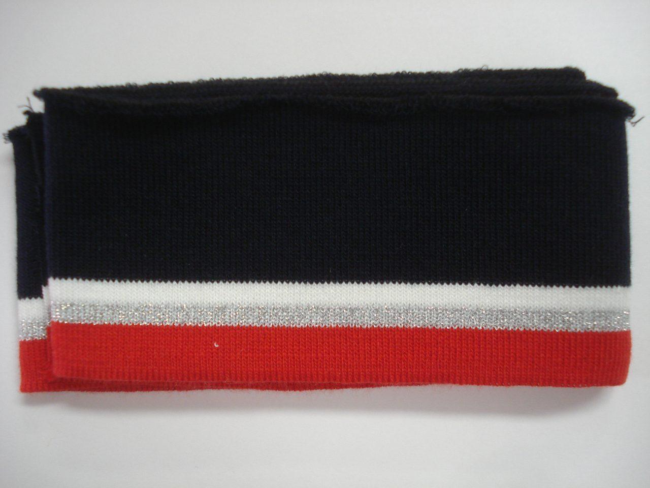 425e097196a Katoenen boord gestreept navy/wit/zilver/rood 6cm x 110cm - Zus en Gus