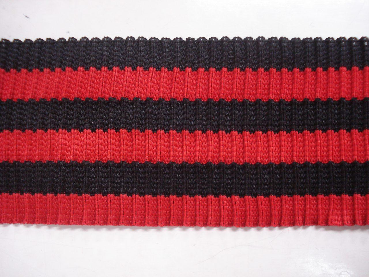 fbee64d4791 Gestreepte boord grove rib rood/zwart 6cm breed