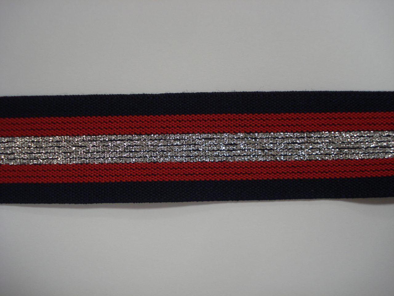 d73b27a3a3a Gestreept Elastiek blauw/rood/zilver/rood/blauw 30mm. halve meter €