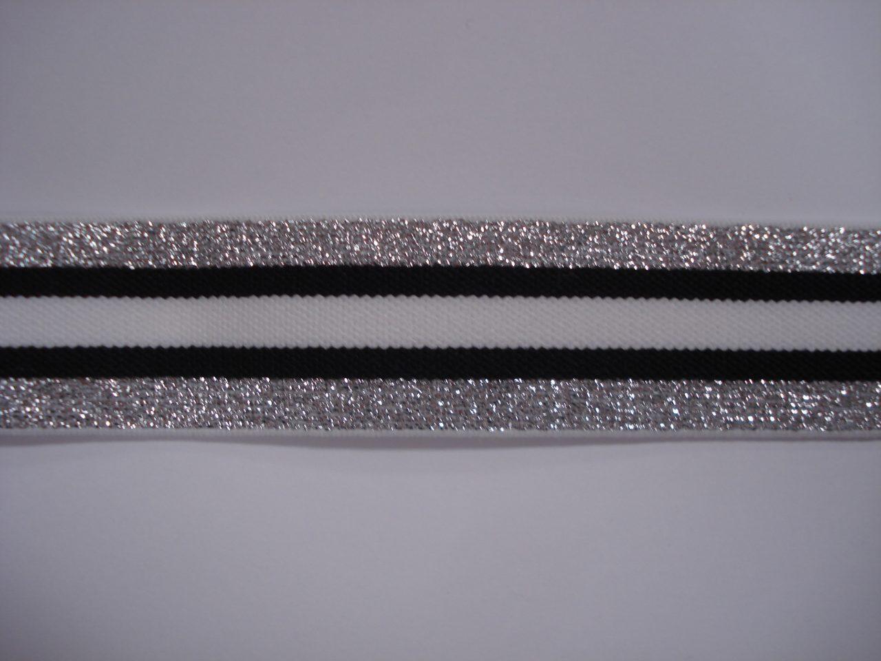 Gestreept Elastiek zilver/zwart/wit/zwart/zilver 30mm. halve meter €1,25.