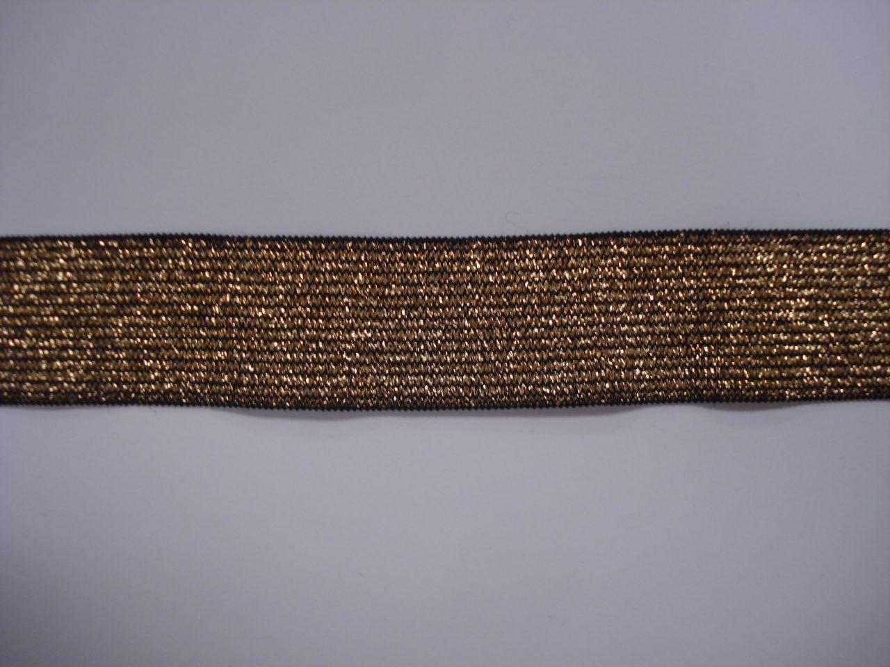 Gestreept Elastiek zwart/goud 25mm. halve meter €0,98.