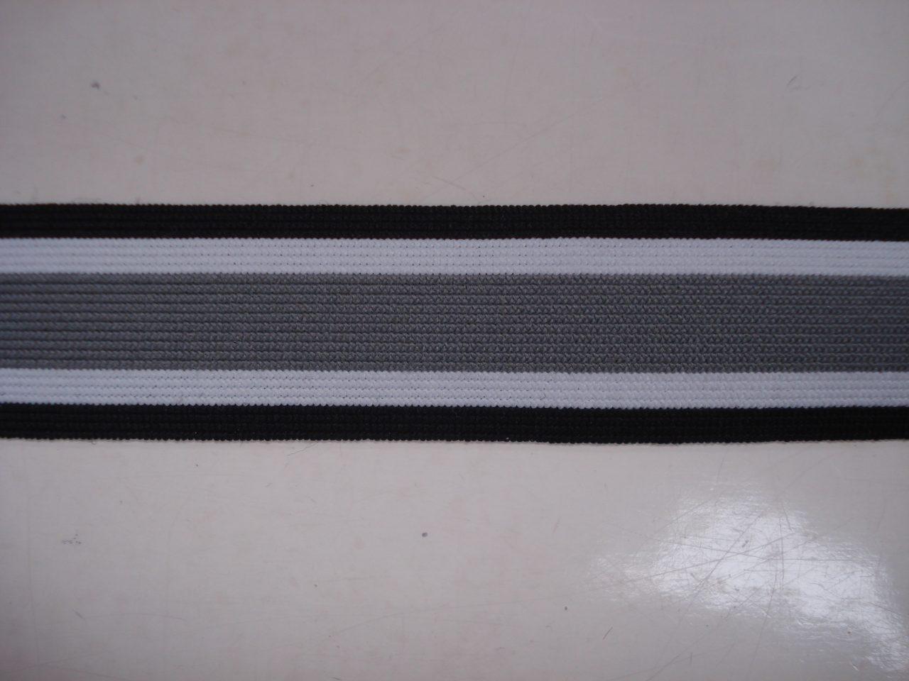 Gestreept Elastiek zwart/wit/grijs 25mm. halve meter €0,98.