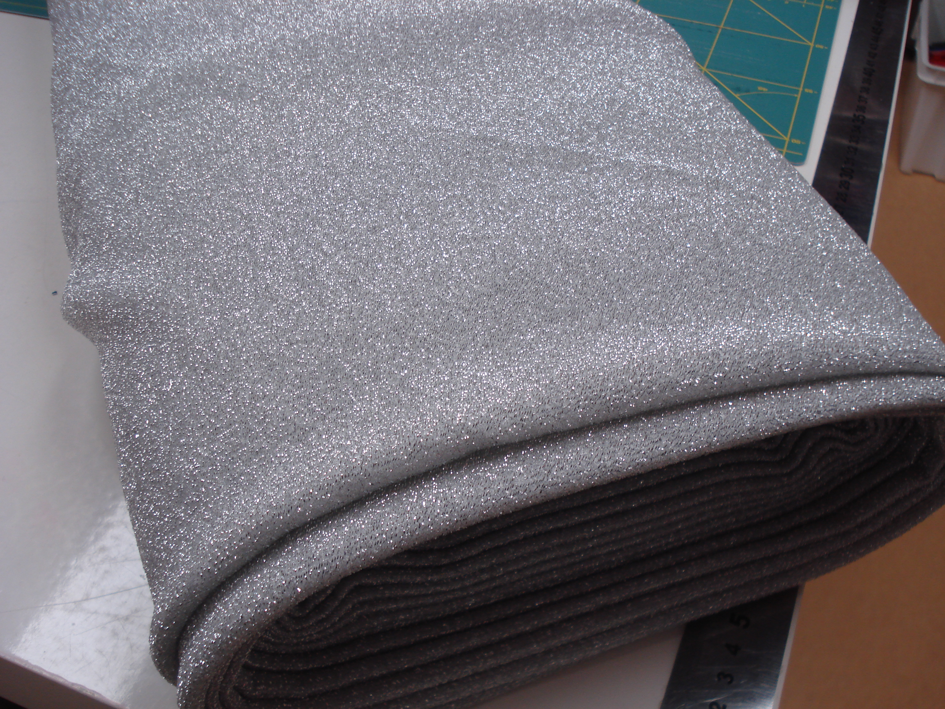Glitter 4 way stretch polyester zilvergrijs