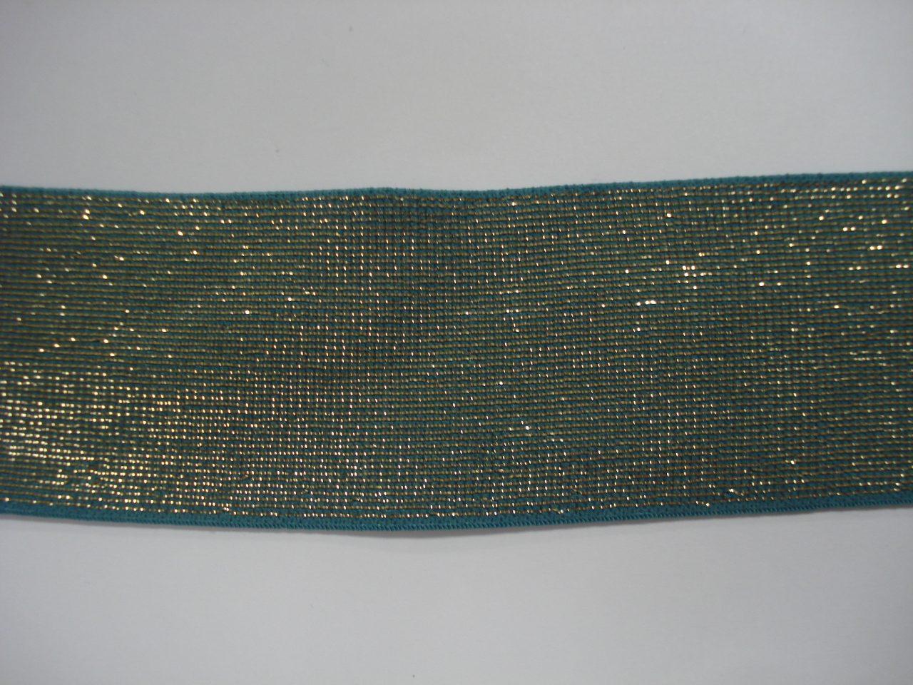 Glitter Elastiek 40mm blauw/goud €3,50 p/m
