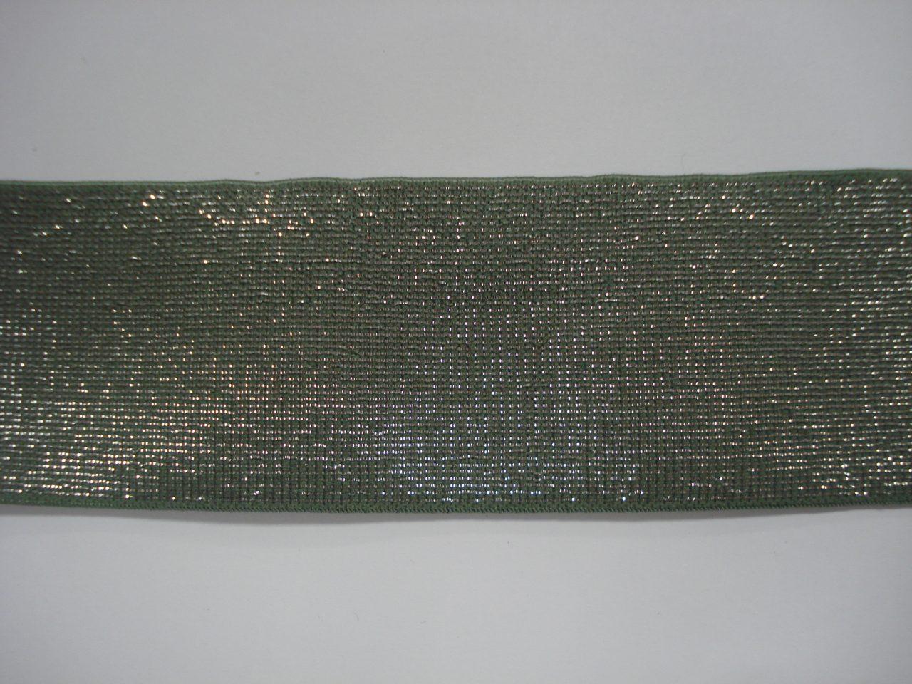 Glitter Elastiek 40mm oudgroen/zilver €3,50 p/m