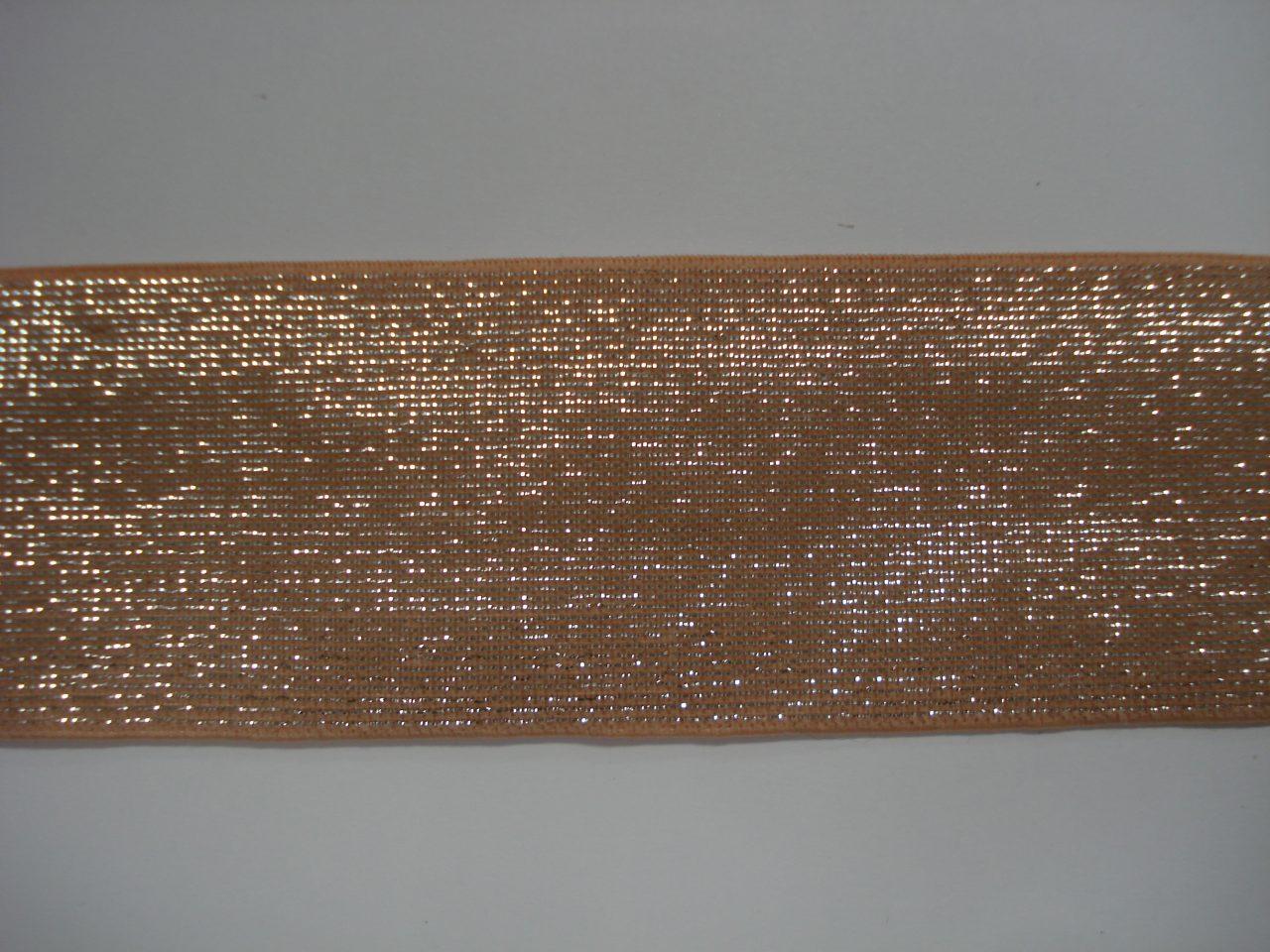 Glitter Elastiek 40mm perzik/zilver €3,50 p/m