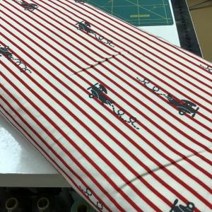 katoenen tricot Plane stripe rood€13,00 p/m