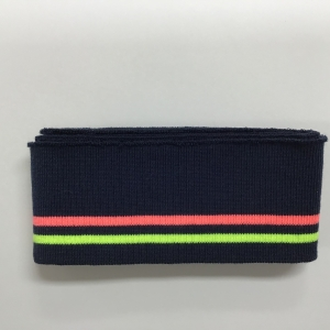 Katoenen boord gestreept donker blauw/neon geel/neon roze 6cm x 110cm.