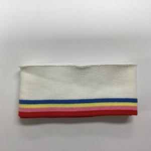 Katoenen boord gestreept wit/rood/roze/geel/blauw 6cm x 110cm.