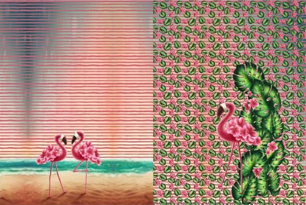 katoenen tricot paneel Flamingo €18,00 per paneel