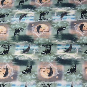 katoenen tricot Happy Dolphin €16,00 per meter