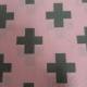 coupon 100cm x 140cm canvas roze/grijs kruis